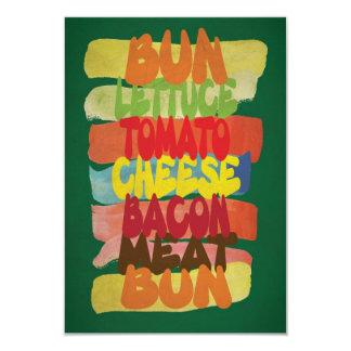 Funny Burger Typography Art 9 Cm X 13 Cm Invitation Card