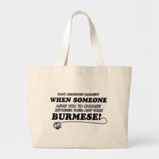 Funny burmese designs tote bag