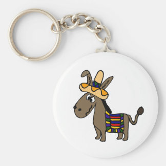Funny Burro with Sombrero and Blanket Key Ring
