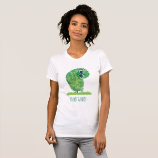 Funny Burrowing Owl in Green and Blue T-Shirt
