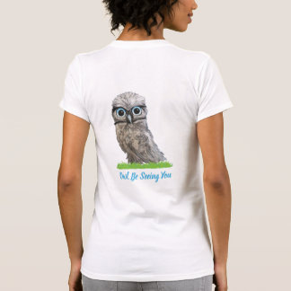Funny Burrowing Owl in Silver and Blue T-Shirt