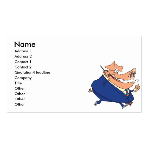 funny business boor pig cartoon business card template