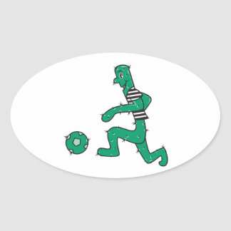 funny cactus playing soccer oval sticker
