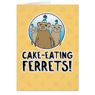 Funny Cake Ferrets birthday card