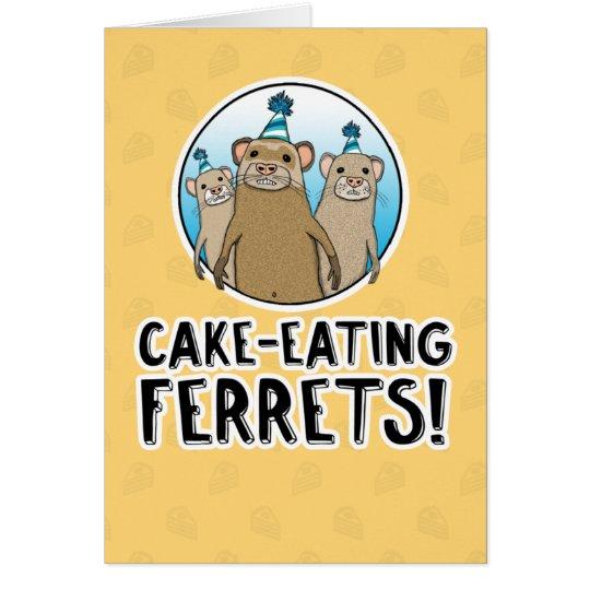 Funny Cake Ferrets birthday card