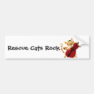 Funny Calico Cat Playing Cello Art Cartoon Bumper Sticker