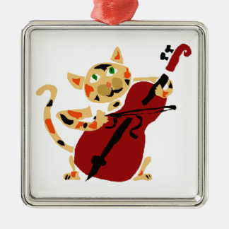 Funny Calico Cat Playing Cello Art Cartoon Christmas Ornament