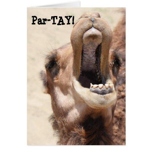 Funny Camel Birthday, Partay, go wild! Greeting Card