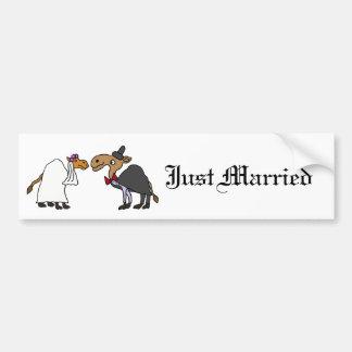 Funny Camel Bride and Groom Wedding Cartoon Bumper Sticker