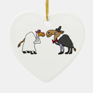Funny Camel Bride and Groom Wedding Cartoon Ceramic Heart Decoration