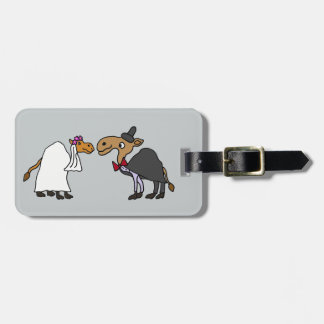 Funny Camel Bride and Groom Wedding Cartoon Tags For Bags