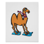 funny camel on skis posters