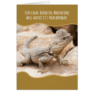 Funny Camouflaged Lizard in a Tweed Hat Birthday Card