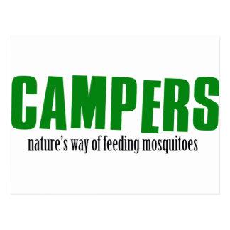 Funny camping designs postcard
