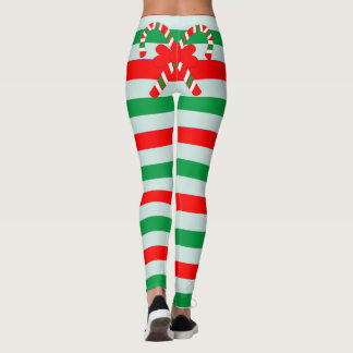 Funny Candy Cane Striped Leggings
