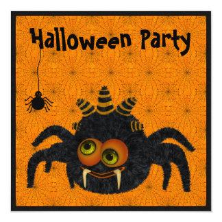 Funny Candy Corn Spider & Cobwebs Halloween Party 13 Cm X 13 Cm Square Invitation Card
