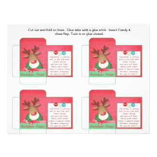 Funny Candy Packet Reindeer Poop with Saying Flyer