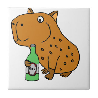 Funny Capybara Drinking Bottle of Beer Small Square Tile