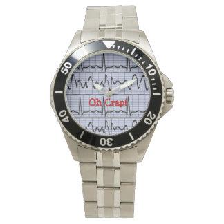 Funny Cardiac Rhythm Oh Crap II Watch White