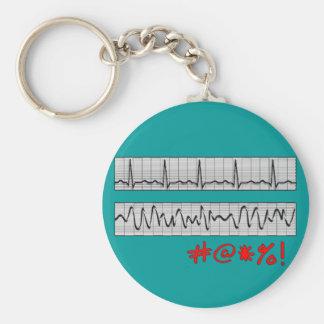 Funny Cardiac Rhythm Strip Gifts Basic Round Button Key Ring