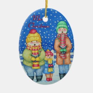 funny carol singers in the snow christmas design ceramic oval decoration