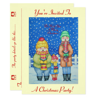 funny carol singers snow scene christmas design 14 cm x 19 cm invitation card