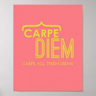 Funny Carpe Diem Poster in Pink Gold