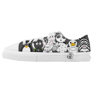Funny Cartoon Animals Mash-Up in Black and White Low Tops