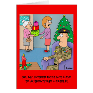 Funny cartoon Army Soldier Military Christmas card