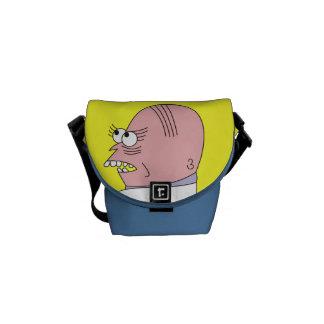 Funny Cartoon Bald Man Bags Messenger Bag