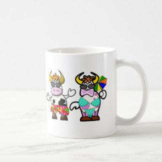 Funny Cartoon Beach Cow Couple Cup Basic White Mug