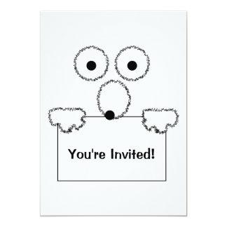 Funny cartoon black and white Invitation