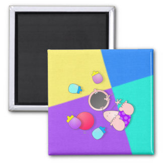 Funny Cartoon Bowling Kid Square Magnet