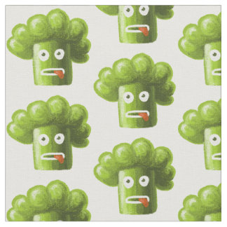 Funny Cartoon Broccoli Fabric