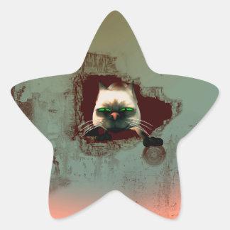 Funny cartoon cat star sticker