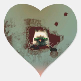 Funny cartoon cat heart sticker