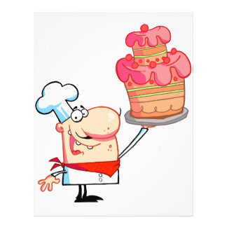 funny cartoon chef holding cake 21.5 cm x 28 cm flyer