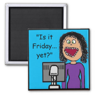 Funny Cartoon Clerical Office Humor Square Magnet