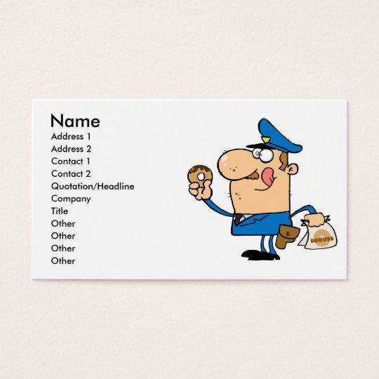 funny cartoon cop eating doughnuts business card