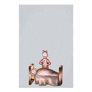 Funny Cartoon Couple Girl Cymbals Boy Sleeping Stationery
