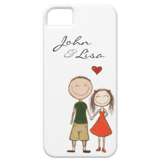 Funny cartoon couple sketch iPhone 5 cover