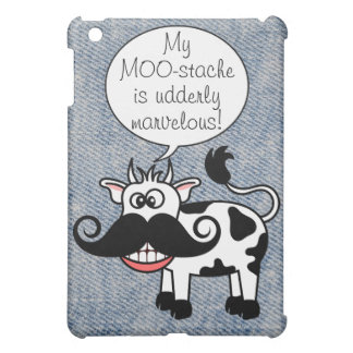 Funny Cartoon Cow Curly Mustache Smile iPad Mini Cases