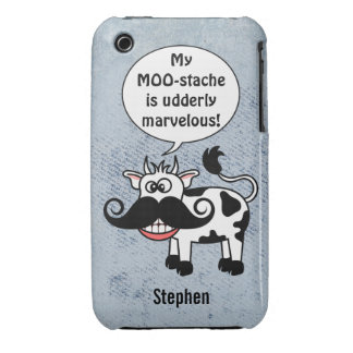 Funny Cartoon Cow Mustache Personalized iPhone 3 Cases