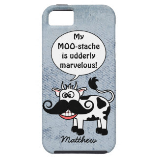 Funny Cartoon Cow Mustache Personalized iPhone 5 Cover