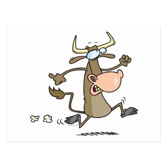 funny cartoon cow on the run moove postcard
