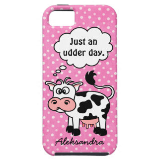 Funny Cartoon Cow Pink Polka Dot Personalized iPhone 5 Covers