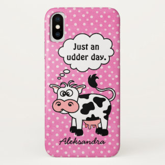 Funny Cartoon Cow Pink Polka Dot Personalized iPhone X Case