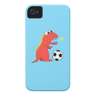 Funny Cartoon Dinosaur Playing Soccer iPhone 4 Cover