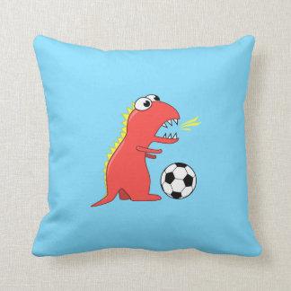 Funny Cartoon Dinosaur Playing Soccer Kids Cushion