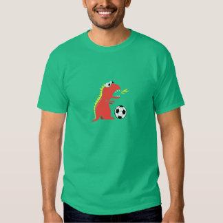 Funny Cartoon Dinosaur Playing Soccer Male Dark T-shirt